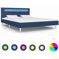 Sanabria European Double (140 x 200 cm) Upholstered Bed Frame by Ebern Designs - Blue