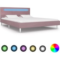 Sanabria European Double (140 x 200 cm) Upholstered Bed Frame by Ebern Designs - Pink