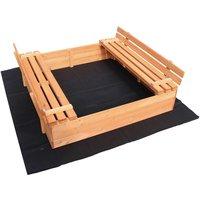 Sandbox folding lid 2 bench seats 980x980x200 mm Spruce wood Fleece floor Sandbox Sand pit - WILTEC
