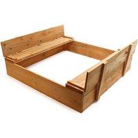 Sandbox Lift-up cover Sandpit Bench Wood - WILTEC