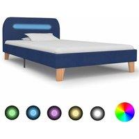 Sandefur European Single (90 x 200 cm) Upholsterd Bed Frame by Ebern Designs - Blue