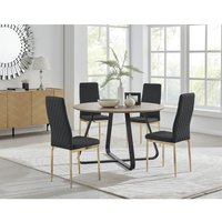 Santorini Brown Round Dining Table And 4 Black Gold Leg Milan Chairs
