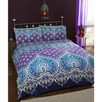 Saphire Traditional Ethnic Double Duvet Quilt Cover and 2 Pillowcase Bedding Bed Set Blue and Purple