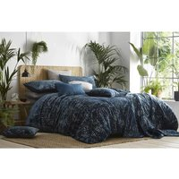 Sapporo Super King Duvet Cover Set Cotton Bedding Quilt Set Velvet Peacock Blue