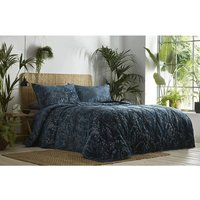 Sapporo Throwover Plus Pillowshams Quilted Bedspread Bedding Velvet Peacock Blue