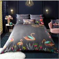 Bedding Swan Grey Super King Size Duvet Cover Set - Sara Miller