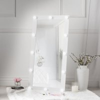 Saskia White Hollywood Wall Mounted Vanity Illuminated Mirror with 12 Bulbs LED Lights Dimmable Switch For Bedroom