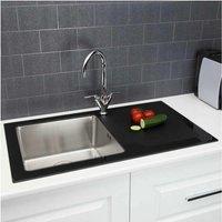 Sauber Modern Stainless Steel Single Bowl Kitchen Sink Black Glass Surround