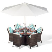 Savannah 6 Seater Brown Rattan Dining Table and Chairs with Ice Bucket Drinks Cooler   Outdoor Rattan Garden Dining Furniture Set Rattan with Parasol and
