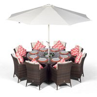 Savannah 8 Seater Brown Rattan Dining Table and Chairs with Ice Bucket Drinks Cooler | Outdoor Rattan Garden Dining Furniture Set with Parasol and Cover