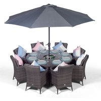 Savannah 8 Seater Grey Rattan Dining Table and Chairs with Ice Bucket Drinks Cooler   Outdoor Rattan Garden Dining Furniture Set with Parasol and Cover
