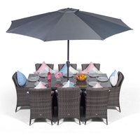 Savannah Rattan Dining Set   Large Rectangle 8 Seater Grey Rattan Dining Set   Outdoor Rattan Garden Table and Chairs Set   Patio Conservatory Wicker
