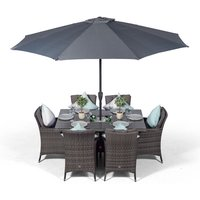 Savannah Rattan Dining Set   Rectangle 6 Seater Grey Rattan Table and Chairs Set with Ice Bucket Drinks Cooler   Outdoor Rattan Garden Dining Furniture