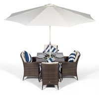 Savannah Rattan Dining Set | Square 4 Seater Brown Rattan Table and Chairs Set with Ice Bucket Drinks Cooler | Outdoor Rattan Garden Dining Furniture