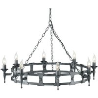 Elstead Saxon - 8 Light Chandelier Black, Silver Finish, E14