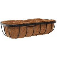 60cm 24 Inch Saxon Metal Wall Trough Basket Black Planter Liner - Smart Garden