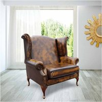 Saxon XL Classic Chesterfield Queen Anne High Back Wing Chair Antique Tan Leather