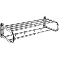Asupermall - Scalable Towel Rack Double Layered Bathroom Shelves with 4 Removable Hooks Wall Mounted Towel Holder Rustproof Stainless Steel Towel Bar