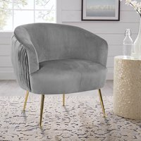 Scallop Oyster Shell Accent Pleated Chair, Grey