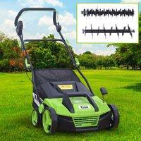 Brast - scarificateur électrique 1600W 38cm 48 l 2en1 aérateur et démousseur pelouse un réglage central 5 étapes, ergonomique - de