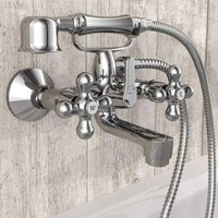 2-Handle Bath Mixer with Hand Shower ELK Chrome - Silver - Schütte