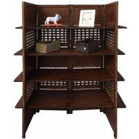 2-Way Display 4 Panel Heavy Duty Indian Screen 4 Shelves Bookcase Room Divider[Dark Brown]