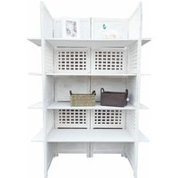 2-Way Display 4 Panel Heavy Duty Indian Screen 4 Shelves Bookcase Room Divider[White]