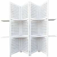 3-Way Display 4 Panel Heavy Duty Indian Screen 2 Shelves Bookcase Room Divider[White]