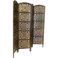 4 Panel Heavy Duty Carved Indian Screen Wooden Flower Design Screen Room Divider 183x50cm per panel, wide open 202cm [Light Brown] - TOPFURNISHING
