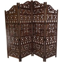 4 Panel Heavy Duty Carved Indian Screen Wooden Gamla Design Screen Room Divider 183x50cm per panel, wide open 202cm [Light Brown] - TOPFURNISHING