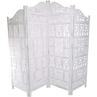 4 Panel Heavy Duty Carved Indian Screen Wooden Gamla Design Screen Room Divider 183x50cm per panel, wide open 202cm [White] - TOPFURNISHING
