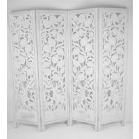 4 Panel Hand Carved Indian Stag Deer Screen Wooden Screen Room Divider 176x46 cm per panel, wide open 184cm [White] - TOPFURNISHING