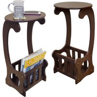 SCROLL - 2 PACK - Side / End / Bedside Table with Magazine / Book Storage Rack - Dark - WATSONS