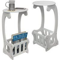 SCROLL - 2 PACK - Side / End / Bedside Table with Magazine / Book Storage Rack - White - WATSONS