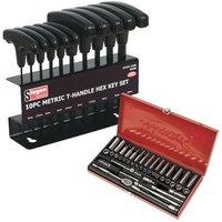 Sealey AK690 Socket Set 41pc 1/4 Sq 6pt Wall Drive + S0466 Hex Key Set 10pc