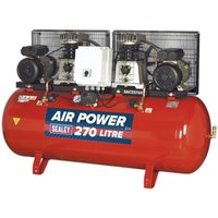 Sealey Compressor 270L Belt Drive 2 x 3hp with Cast Cylinder