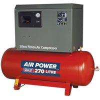 Sealey Compressor 270L Belt Drive 5.5hp 3ph 2-Stage Low Nois