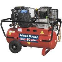 Sealey Compressor 50L Belt Drive Petrol Engine 4hp