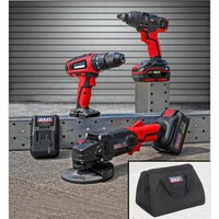 Sealey CP20VCOMBO1 20V Cordless 13mm Hammer Drill/1/2Sq Drive Impact Wrench/??115mm Angle Grinder Combo Kit