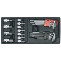 TBT07 29pc Hex/Ball-End Hex Key and Socket Bit Set with Tool Tray - Sealey