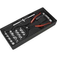 Tool Tray with Oil Filter Wrench PliersandDrain Plug Set 21pc - Sealey