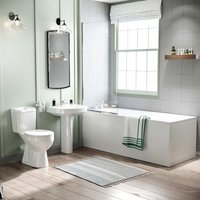 Seattle Close Coupled Toilet, Pedestal Basin, Round Bath and Shower Screen Suite White