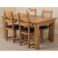 Seattle Solid Oak 150cm-210cm Extending Dining Table with 4 Lincoln Solid Oak Dining Chairs [Light Oak and Brown Leather] - MODERN FURNITURE DIRECT