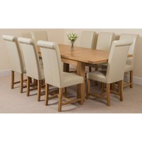 Seattle Solid Oak 150cm-210cm Extending Dining Table with 8 Washington Dining Chairs [Ivory Leather] - MODERN FURNITURE DIRECT