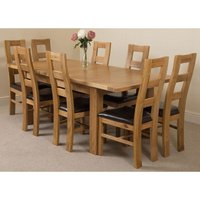 Seattle Solid Oak 150cm-210cm Extending Dining Table with 8