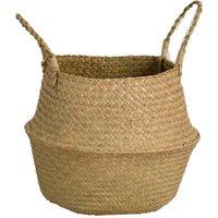 Zqyrlar - Seaweed Storage Basket, Flower Pot, Flower Pot, Natural Basket, Laundry Basket With Handle, Foldable Woven Belly Basket, Toy Storage,