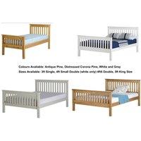 Seconique Monaco 5ft Kingsize Bed Distressed Pine