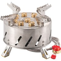Self-Driving Tour Outdoor Stainless Steel 9-Head Stove Portable 9 Hole Fire And Brimstone Stove,model: Stove and soft tube