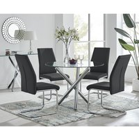 Selina Round Glass And Chrome Metal Dining Table And 4