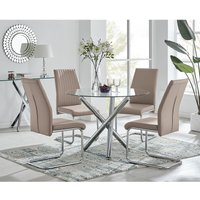 Selina Round Glass And Chrome Metal Dining Table And 4 Cappuccino Grey Lorenzo Chairs Set